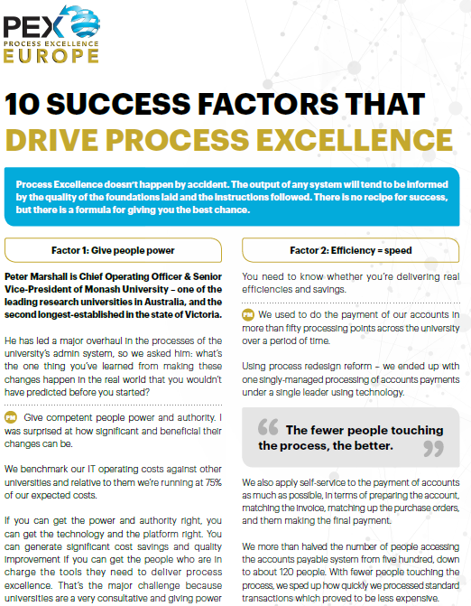 10 Success Factors That Drive Process Excellence