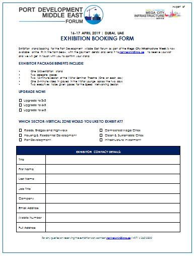 Port Development Middle East Forum - Exhibition Booking Form