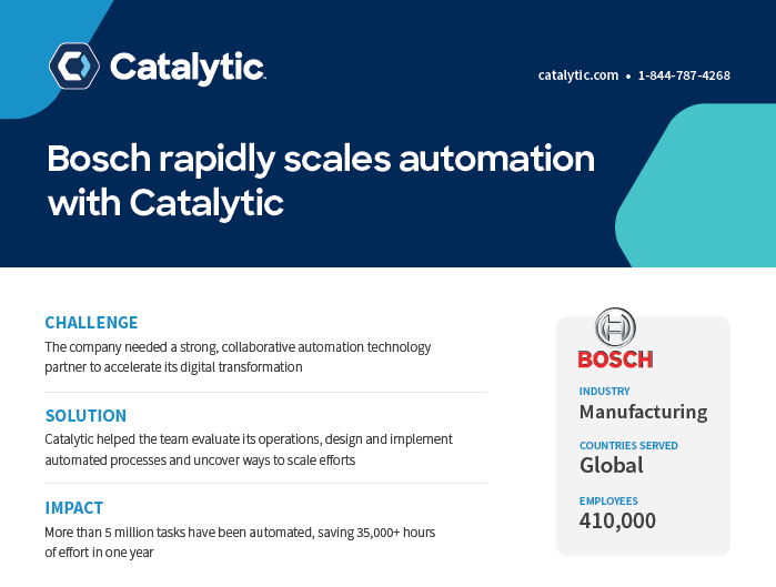 Case Study: Bosch Rapidly Scales Automation With Catalytic