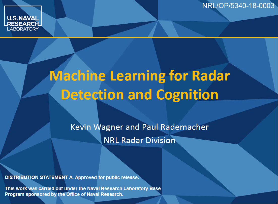 Machine Learning for Radar Detection and Cognition