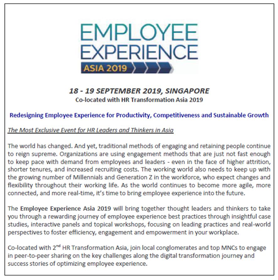 Download Employee Experience Asia Preliminary Agenda