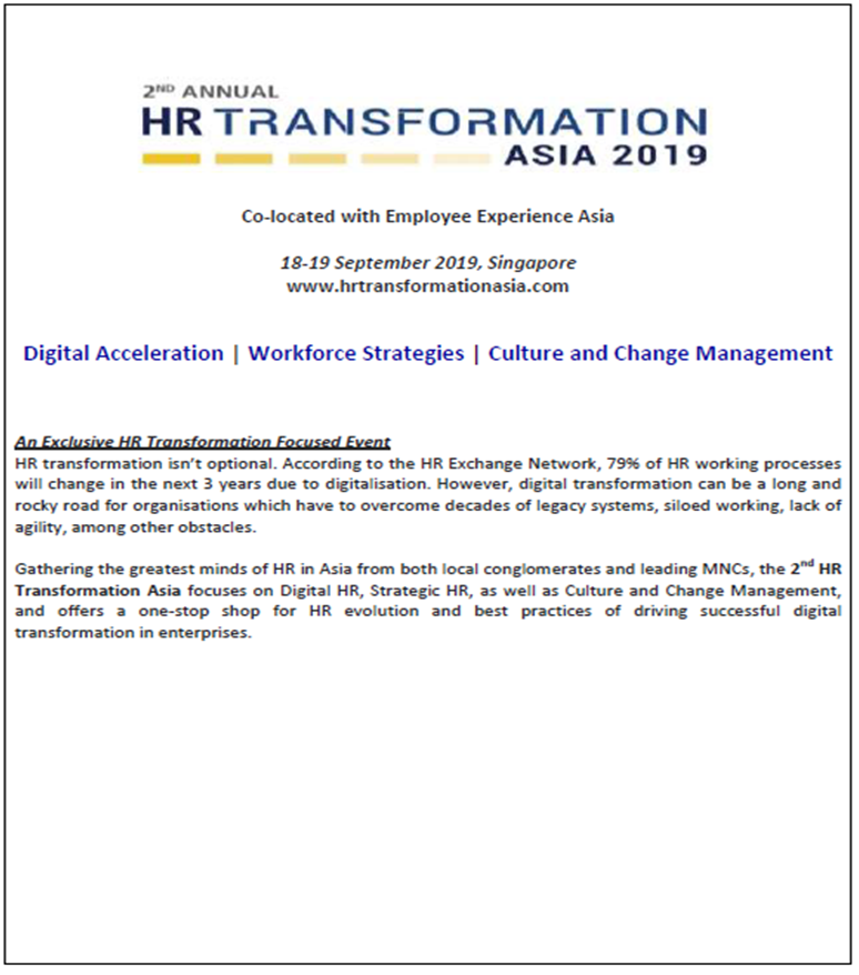 Download HR Transformation Asia Preliminary Conference Agenda