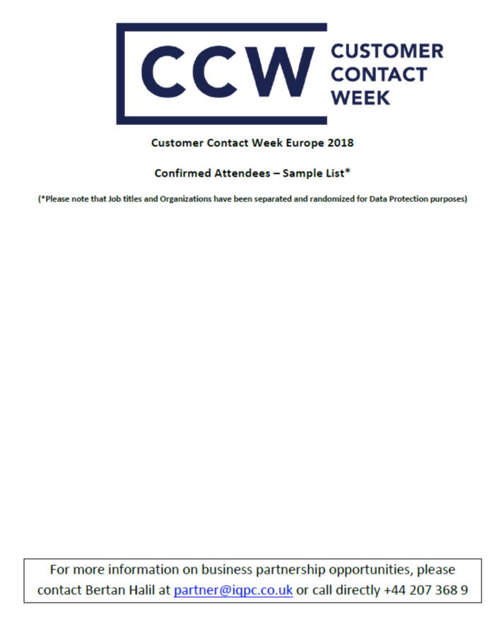 CCW Europe 2019 - spex - 2018 attendee list