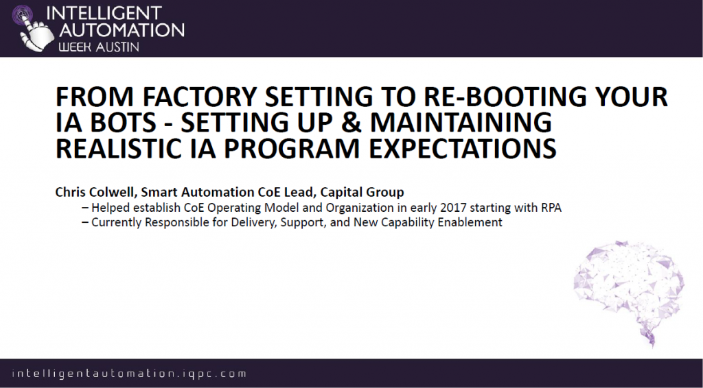 Setting Up & Maintaining Realistic IA Program Expectations
