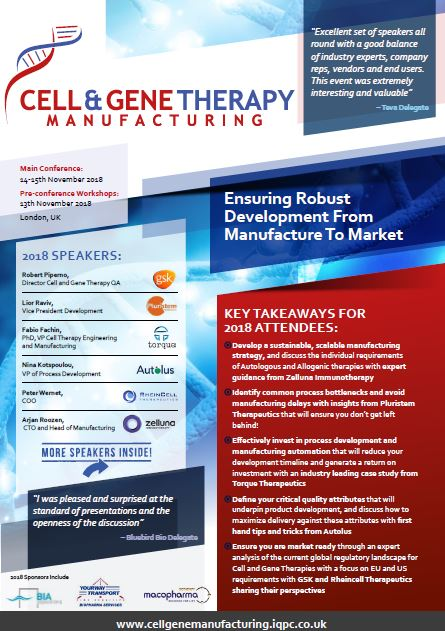 Download the Cell & Gene Therapy Manufacturing 2018