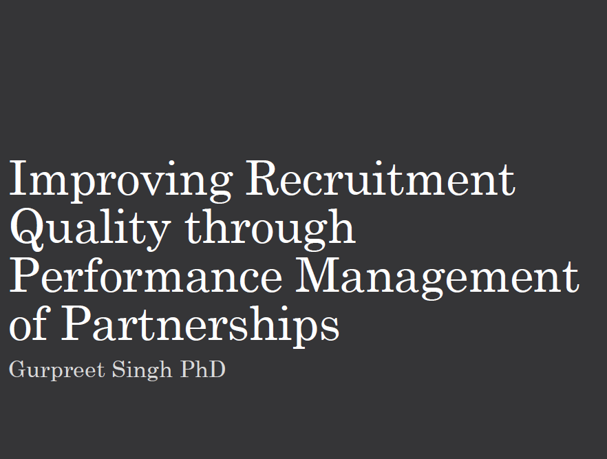 Improving Recruitment Quality through Performance Management of Partnerships