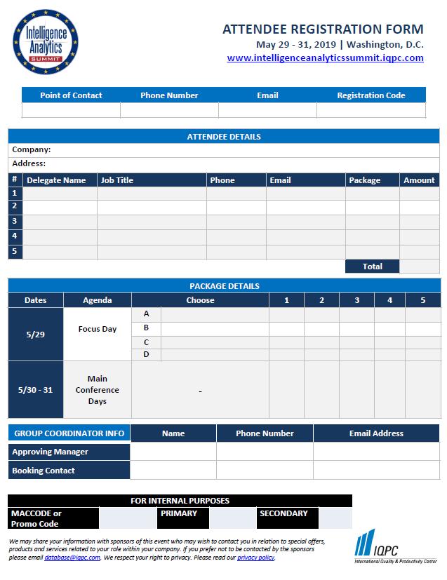 Intelligence Analytics Summit 2019 Registration Form