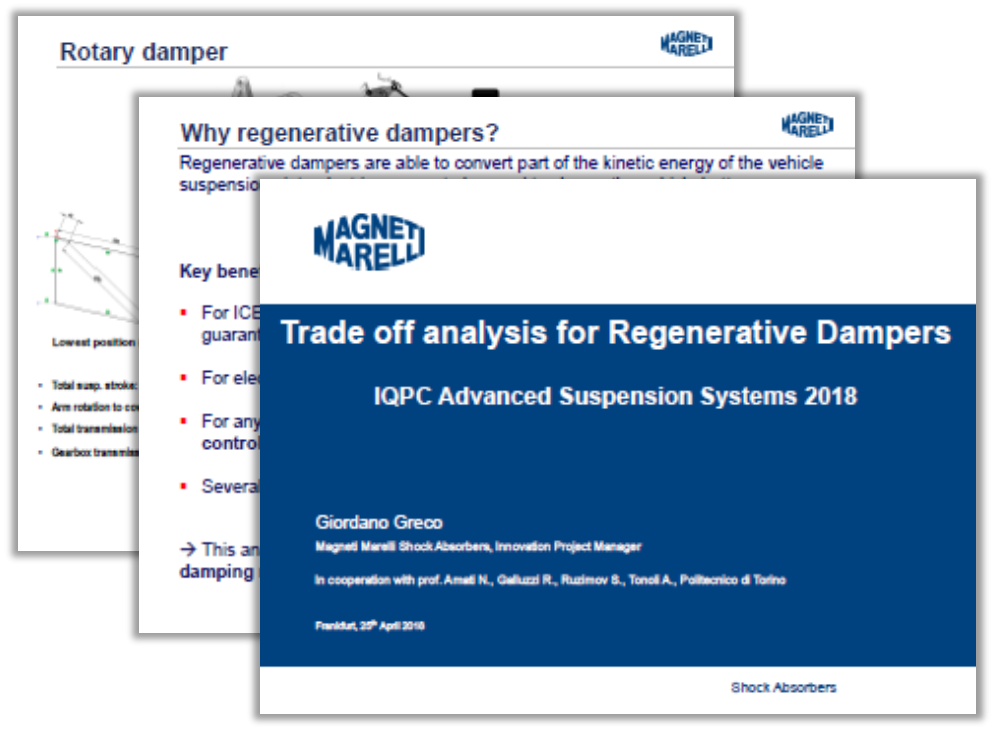 Magneti Marelli Presentation: Trade off Analysis for Regenerative Dampers