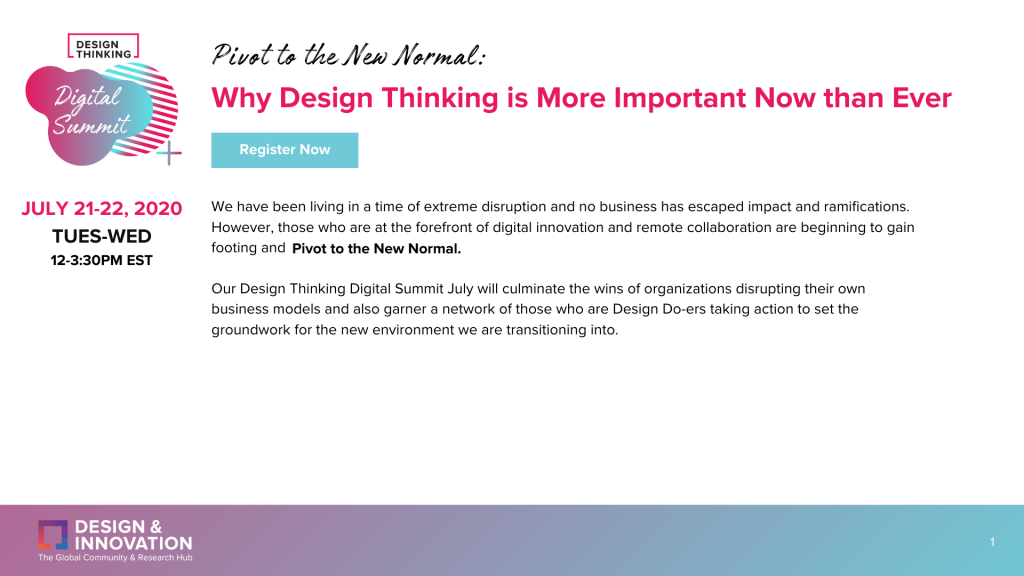 Design Thinking Summit July Agenda