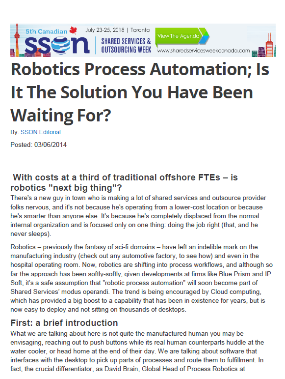 Robotics Process Automation; Is It The Solution You Have Been Waiting For?
