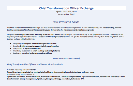 Download the Chief Transformation Officer Exchange 2021 Agenda