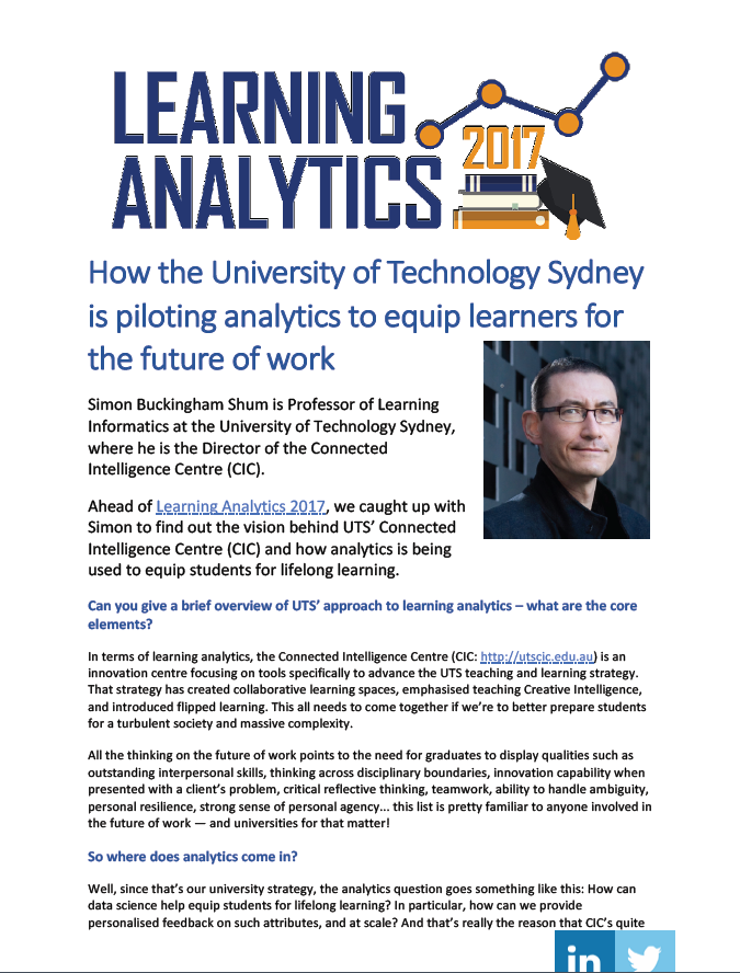 How the University of Technology Sydney is piloting analytics to equip learners for the future of work