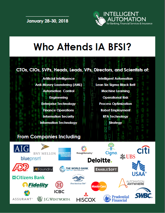 Past Attendee Snapshot: Intelligent Automation Banking, Financial Services and Insurance