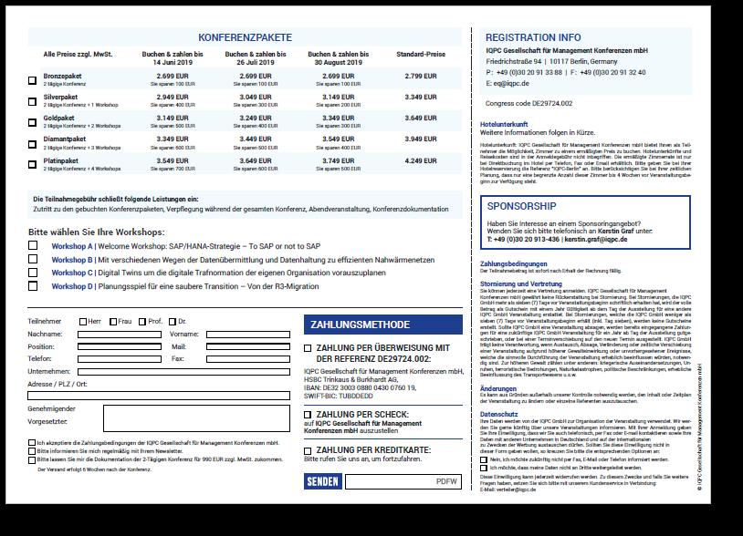 Anmeldeformular für IT & Daten Architektur - Plattformen & Migration SAP HANA
