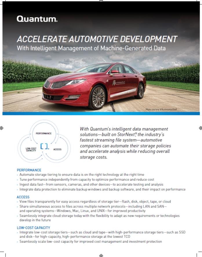 Accelerate Automotive Development with Intelligent Management of Machine-Generated Data