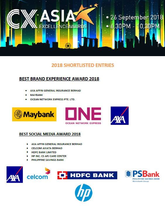 2018 CX Asia Excellence Awards Shortlist