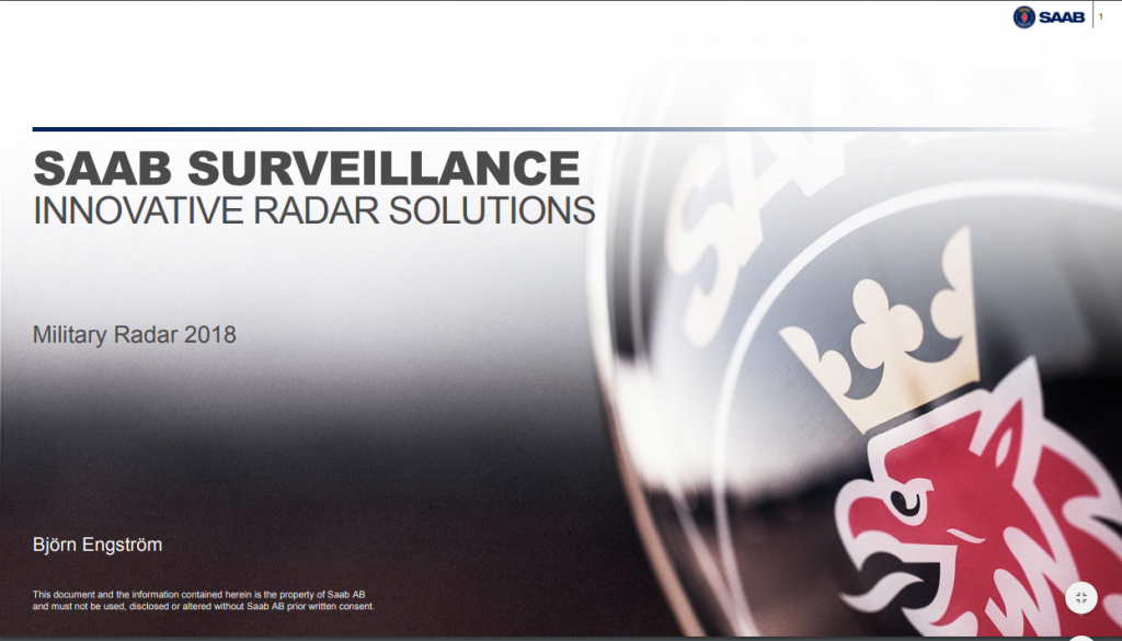 Past Presentation 2018: Innovative Radar Solutions -SAAB