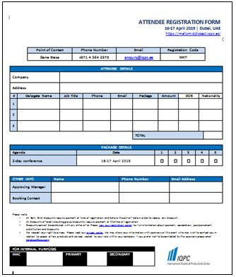 Delegate Registration Form - 2nd Annual Malls Middle East