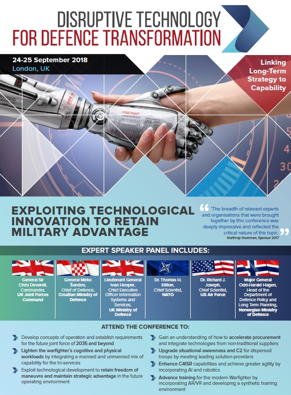 Disruptive Technology for Defence Transformation 2018 Sponsorship Opportunities