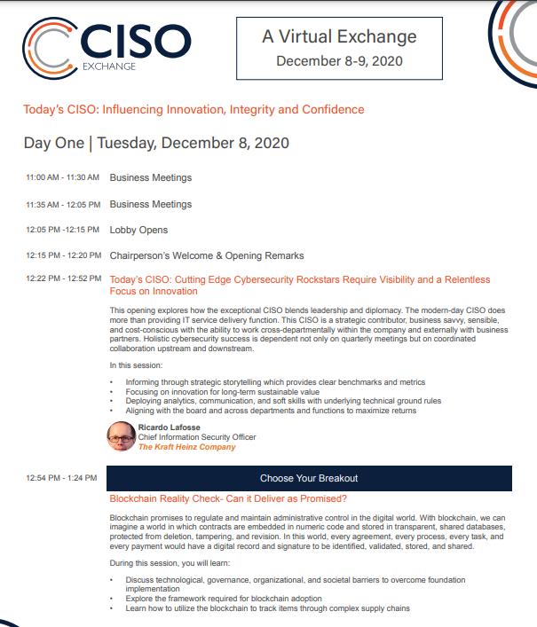 2021 CISO Exchange Agenda