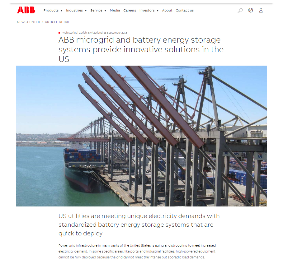 ABB Microgrid and Battery Energy Storage Systems