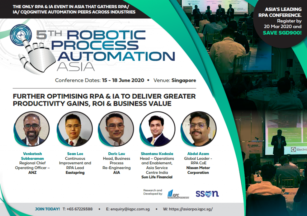 View the 5th Robotic Process Automation Asia 2020 Online Event Agenda