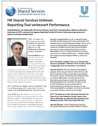 Interview on HR Shared Services Unilever: Reporting Tool verbessert Performance