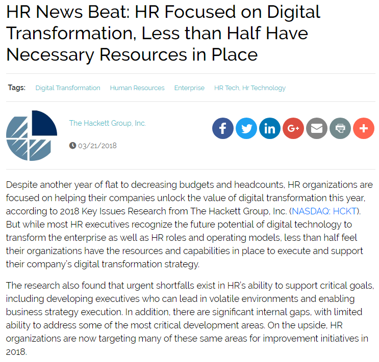 HR Focused on Digital Transformation, Less than Half Have Necessary Resources in Place
