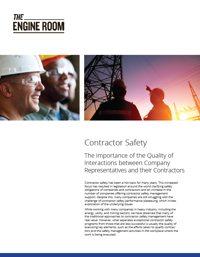 Contractor Safety - The importance of the Quality of Interactions between Company Representatives and their Contractors
