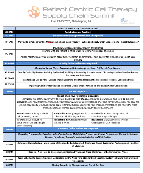 Patient Centric Cell Therapy Supply Chain Summit Preliminary Agenda