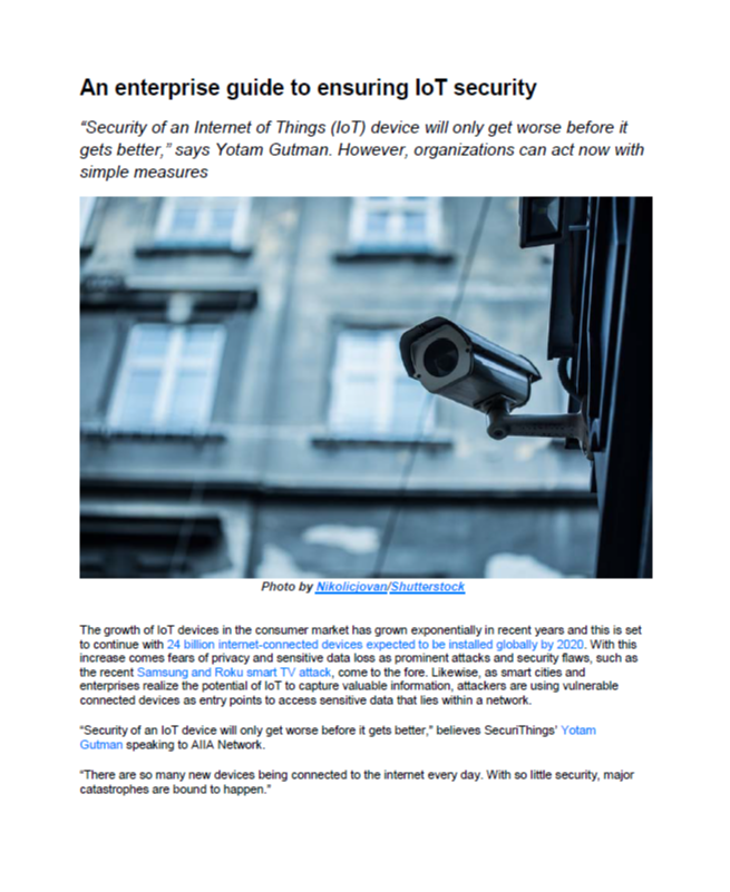An Enterprise Guide to Ensuring IoT Security