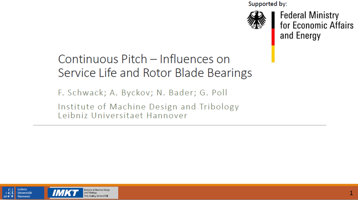 Continuous pitch – Influences on service life and rotor blade bearings