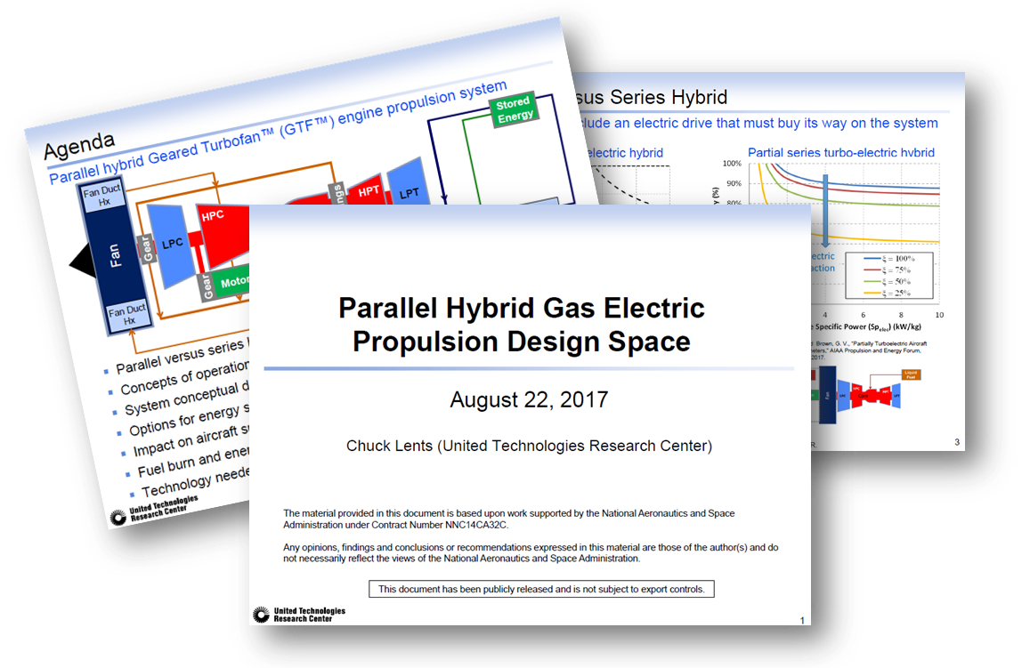 Parallel Hybrid Gas Electric Propulsion Design Space - a presentation by the United Technologies Research Center