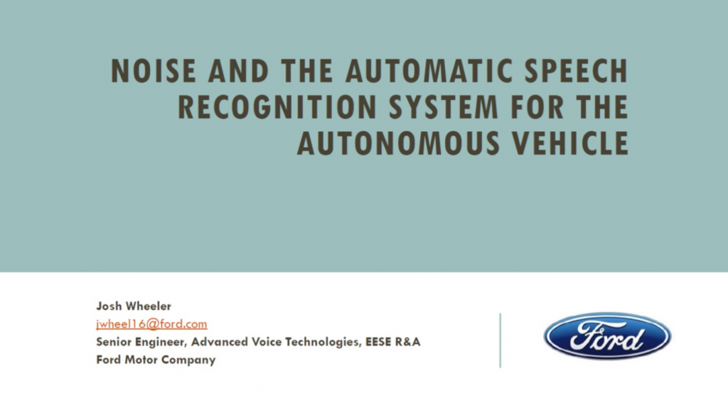 Ford Presentation on Noise and Automatic Speech Recognition System for the Autonomous Vehicle