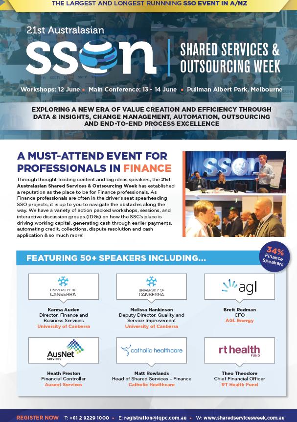 Shared Services and Outsourcing Week 2018 Business Case for Finance