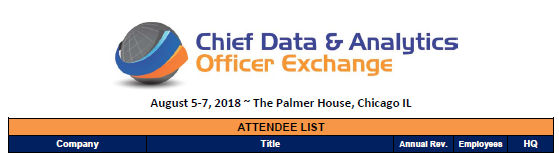 View the 2018 Chief Data & Analytics Officer Exchange Attendee List