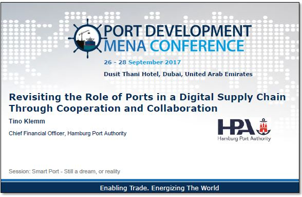 Role of Ports in a Digital Supply Chain - By Timo Klemm, CFO of the Hamburg Port Authority