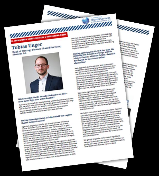 Interview: Tobias Unger, Head of Strategy Finance Shared Services von Siemens AG