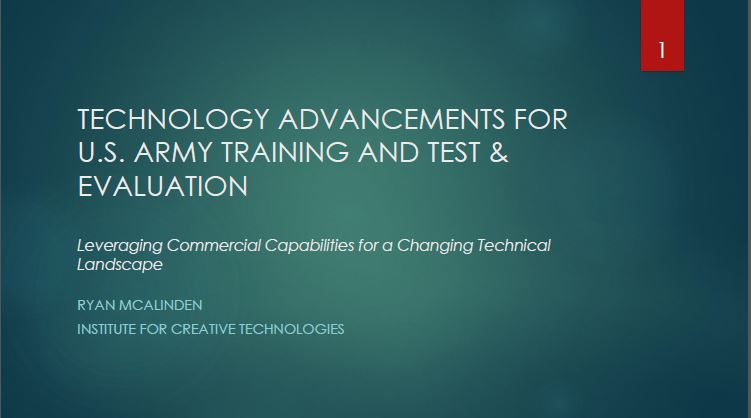 Technology Advancements for U.S. Army Training and Test & Evaluation