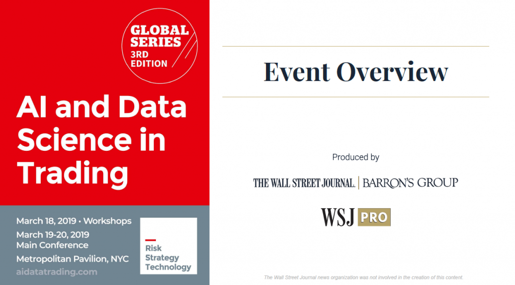 AI & Data Science in Trading, NYC 2019 - WSJ Pro Event Overview