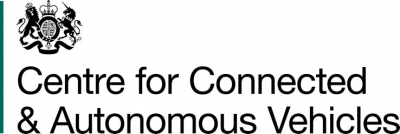 Centre for Connected and Autonomous Vehicles (CCAV is part of the Department for Transport, United Kingdom) Logo
