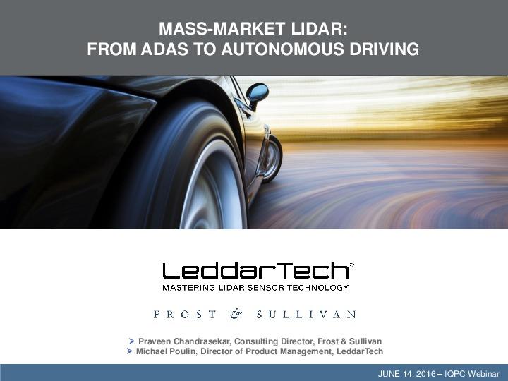 Mass-Market Lidar: from ADAS to Autonomous driving
