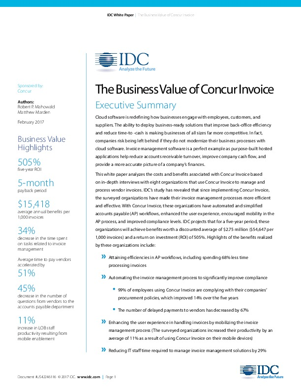 The Shared Services Outsourcing Network The Business Value Of - Invoice value