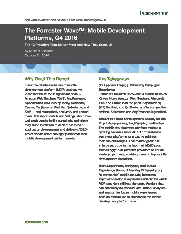 Top Analyst Firm Rates Mobile Development Leaders