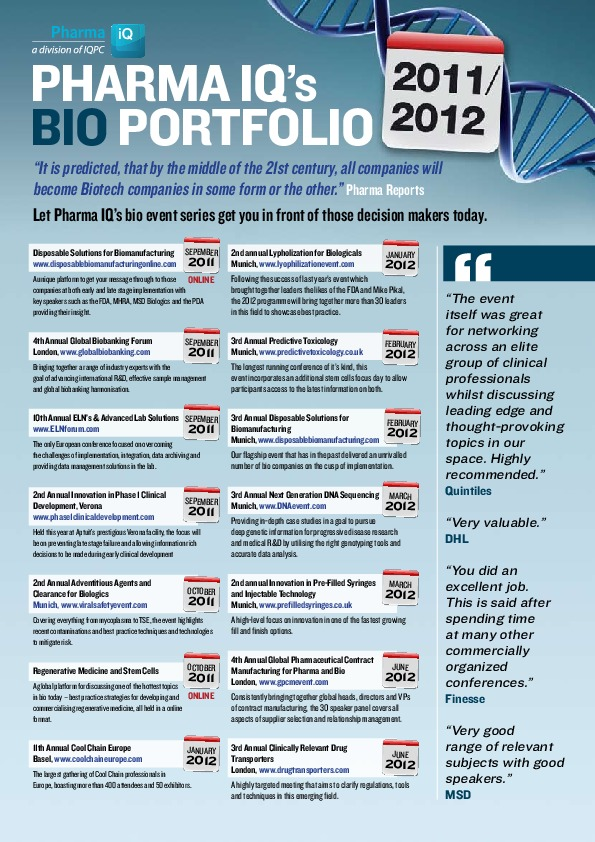 Pharma IQ's Bio Portfolio