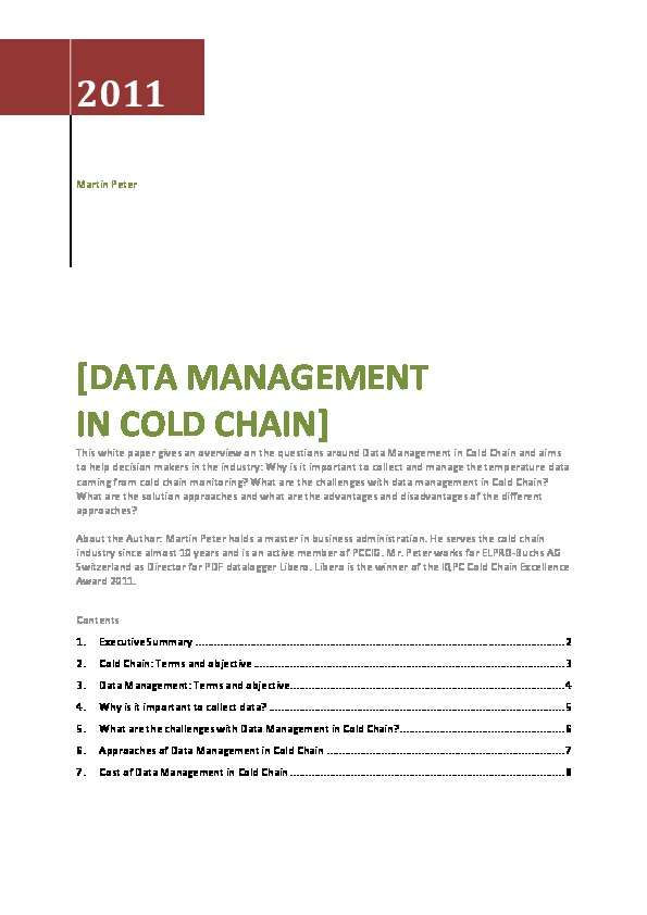 Data Management in Cold Chain - Elpro Paper | Pharma Logistics
