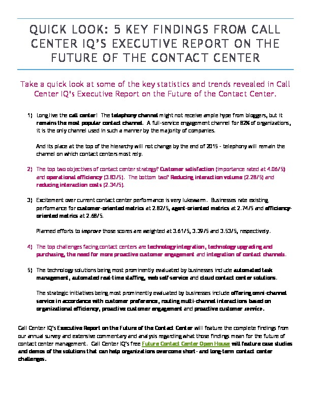 Quick Look: 5 Key Findings About the Future of the Contact Center