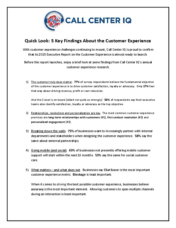 Quick Look: 5 Key Findings About the Customer Experience | CCW
