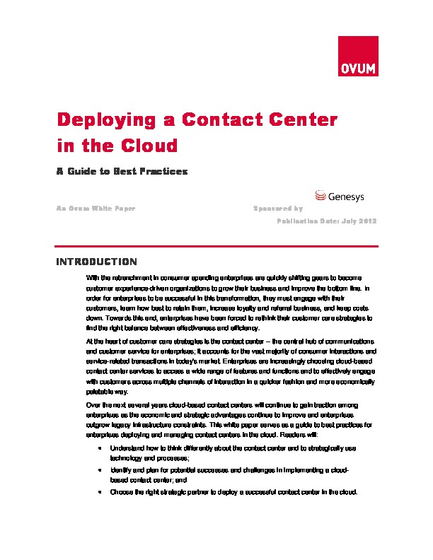 10 Best Practices for Deploying Your Contact Center in the Cloud