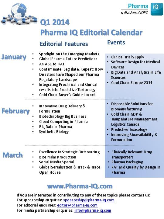 Pharma IQ's Editorial Calendar Q1 2014 | Pharma IQ